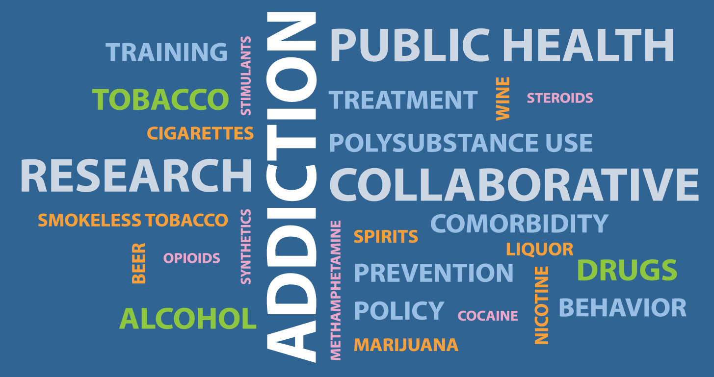 The home page graphic featuring a simulated word cloud showing various aspects of collaborative addiction research.