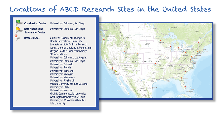 Map of ABCD Study sites